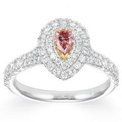 Pink Poire Diamond Halo Ring