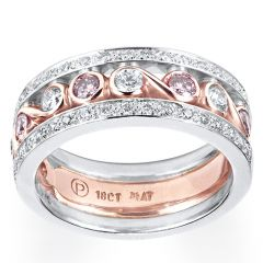 Rose gold Scrolls with Pink and White Diamonds