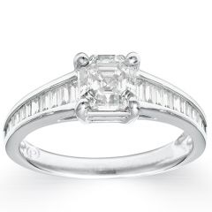 Royal Asscher with Baguette Set Shoulders