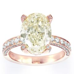 Large Fancy Yellow Oval in Rose Gold