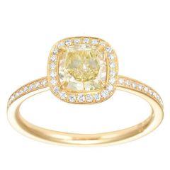 Cushion Yellow Halo Ring