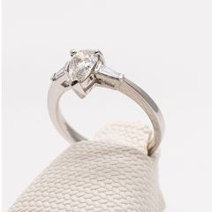 Pear and Baguette Diamond Ring