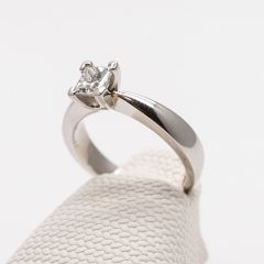 Platinum Princess Cut Tapered Ring