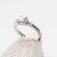 White Gold Princess and Trilliant Cut Diamond Ring