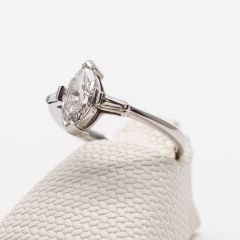 White Gold Marquise and Tapered Baguette Diamond Ring