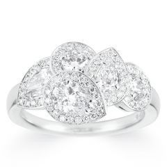 Five Fancy Pear-shaped diamond ring