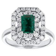 Double Claw-Set Surround Emerald Cluster