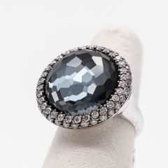 Hematite and Silvered Diamond Cocktail Ring