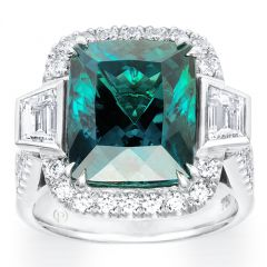 Tourmaline With Tapered Emerald Cut Diamonds