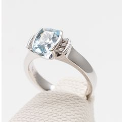 Cushion Aquamarine and Channel Set Diamond Ring