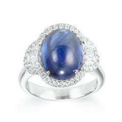 Oval Cabochon sapphire ring