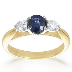 Sapphire and Diamond Shoulder Set Ring