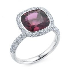 Rubellite with Pave Diamond Surround