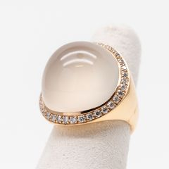 White Moonstone Ring with Diamond Surround
