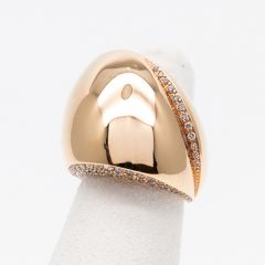 Skewed Dome Brown and White Diamond Ring