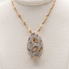 Yellow and White Gold Pave Set Cage Pendant