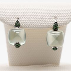 Prehnite and Tsavorite Hook Earrings