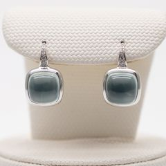 Prehnite and Diamond Drop Earrings