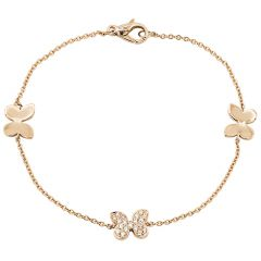 Pave Butterfly Bracelet Rose Gold