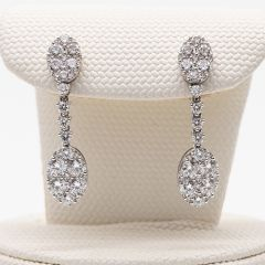 Oval Diamond Cluster Drop Earrings