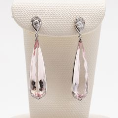 Long Morganite Pear Shaped Diamond Top Earrings
