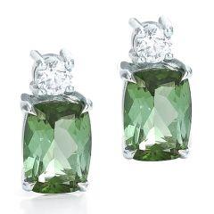 Cushion Cut Green Tourmaline Earrings