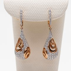 Pierced out Teardrop Rose Gold and Paved Diamond Earrings
