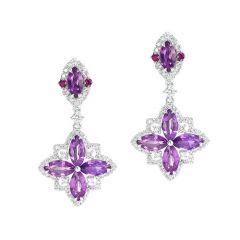 Flowering sapphire drop earrings