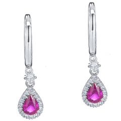 Petite Ruby Pear Earrings