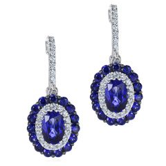 Double Sapphire Cluster Earrings