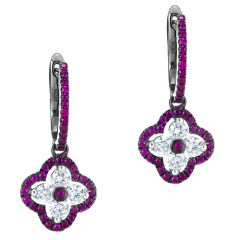 Ruby Clover Drop Earrings