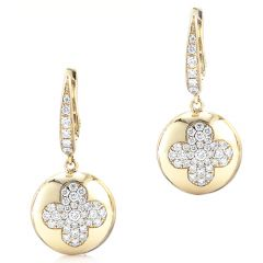 Fiore Yellow Gold Button Earrings