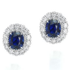 Large Sapphire and Diamond Halo Earrings