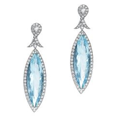 Marquise Aquamarine Drop Earrings