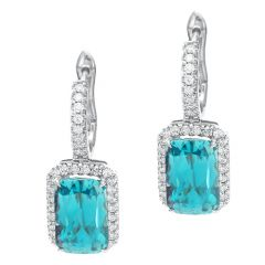 Blue Zircon Diamond Set Drop Earrings