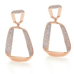 Trapezoid Shaped Pave Diamond Earrings