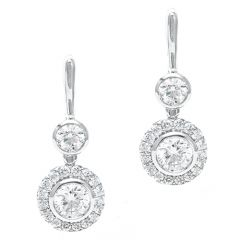 Rub Over Diamond Hinged Earrings