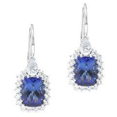Cushion Tanzanite drop earrings
