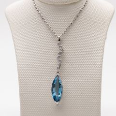 Marquise Aquamarine and Diamond Pendant
