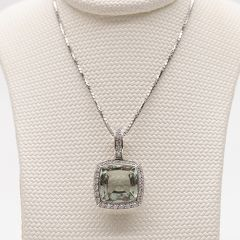 Square Green Quartz and Paved Diamond Surround Pendant
