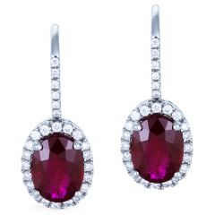 Ruby Halo Hook Earrings
