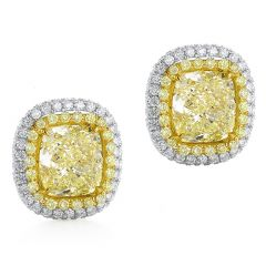 Yellow Cushion Halo Studs