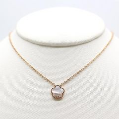 Single Mother of Pearl Flower Necklace