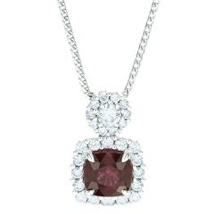 Ruby Pendant With Small Diamond Cluster