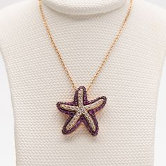 Diamond and Pink Sapphire Starfish Pendant