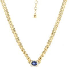 Oval Sapphire on Chain Necklace