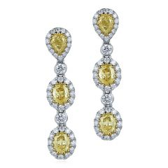 Triple Yellow Diamond Halo Drops