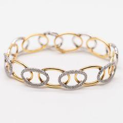 Pave Set Link Yellow and White Gold Bracelet