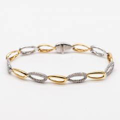Tear Shaped Link Yellow and White Gold Pave Set Bracelet
