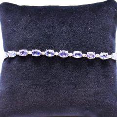 Oval sapphire and diamond tennis bracelet